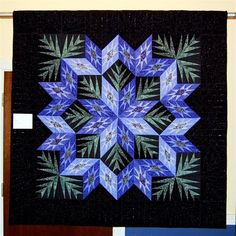 "Beautiful quilt design. never saw it on black background before, makes the blue ""Pop"""