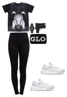 """GLO GANG"" by trill-experts ❤ liked on Polyvore featuring NIKE, Pieces, Michael…"