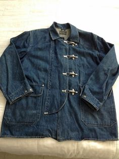 Denim Fireman's Clasp Chore Coat Denim Bunker Coat RRL Ralph Lauren