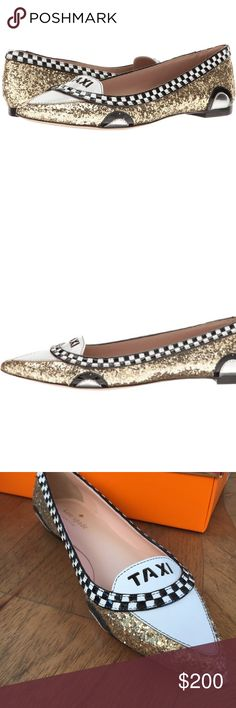 KS Go glitter taxi flats Brand new in box / pristine condition.  Kate Spade New York glitter Go taxi flats.  Awesome addition for your Kate spade collection.  Runs true to size. Pet free smoke free seller. kate spade Shoes Flats & Loafers