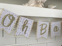 Oh Baby Banner Twinkle Twinkle Little Star Baby Shower  Gold
