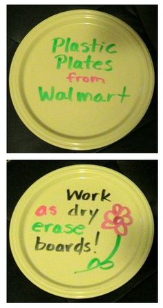 plastic plates as dry erase boards. i could use this for singing time!