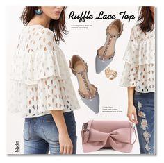 """Ruffle Lace Top"" by svijetlana ❤ liked on Polyvore featuring lace, ruffle and shein"