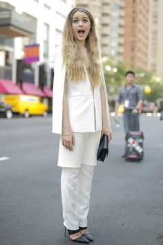 NYFW Street Style Day 1 (September 5, 2014) Who says you can't wear white after Labor Day?