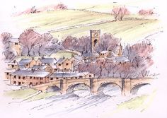Burnsall in the Yorkshire Dales ~ sketch ~ John Edwards