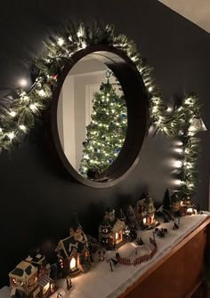 Christmas village decorations at night, could do this on a mantle or an entrance table/sofa table/hutch love it 💕 Christmas Mantels, Christmas Mood, Noel Christmas, Simple Christmas, Christmas Lights, Christmas Village Decorations, Christmas Villages, Christmas Village Display, Christmas Inspiration