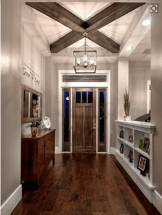 Styling your entryway - architectural details: winning with wood beams and a lantern!