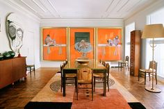 Terry's palatial dining room features works from Francis Bacon, Emile-Jacques Ruhlmann, Ivan de Silva Bruhns and Jean Dunand. Photo by Francois Halard for W.