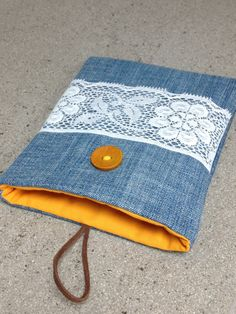 Denim Kindle Cover   Stripy tablet case   Handmade e-reader holder   Beautiful fabric pouch for iPad, Kindle, Samsung Galaxy   Kindle cover by ShabbySheUK on Etsy