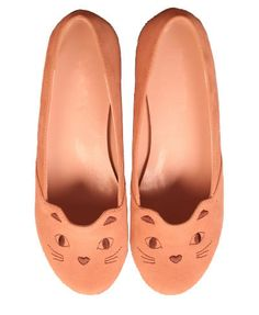 Suede Flat Shoes with Cat Embroidery Details