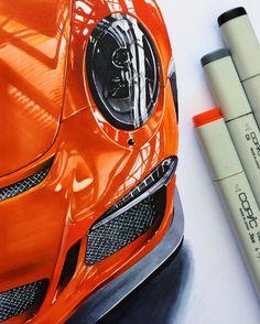 "3,347 Me gusta, 81 comentarios - berkay yazıcı (@berkayazc) en Instagram: ""#porsche #911 #gt3 #gt3rs #supersport #gt3car #realisticcardrawing #details #copic #marker…"""