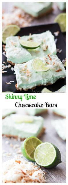 A skinny lime cheesecake bar made with a coconut oil graham cracker crust, greek yogurt, and topped with sweet toasted coconut. So simple to make!
