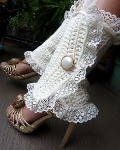 Ivory Lacy Lady Victorian Leg Warmers | No pattern but it looks like rows of double crochet trimmed in lace, easy!