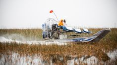 Andrew gets a private tour from Captain Trey, who leads the airboats right through the sawgrass and cattails and helps each visitor experience the trip of a lifetime. Image: © Adrian Danciu / Kinocut Pictures, LLC