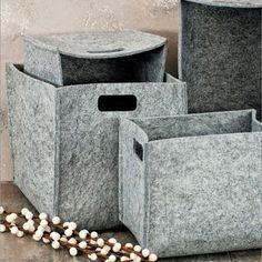 grey felt baskets (I can make these with doubled up felt OR wool felt) Felt Diy, Felt Crafts, Cardboard Organizer, Diy Storage Boxes, Rv Makeover, Nordic Home, Diy Carpet, Craft Patterns, Easy Diy Projects
