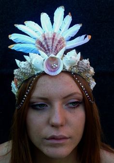 Flight of Fancy feather and shell crown by SaltyFeathersDesigns on Etsy