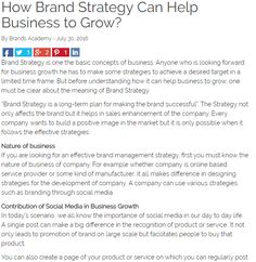 How Brand #Strategy Can Help Business to #Grow?