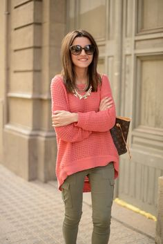 Coral and olive! Would also work for summer with Capri or shorts!