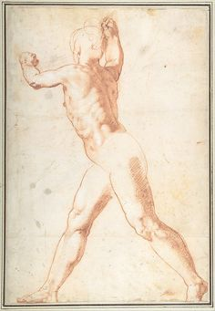 Taddeo Zuccaro, 1529-1566, Italian, Standing Nude Man (recto), 1550.  Red chalk, highlighted with traces of white gouache (recto): 42 x 28.7 cm.  Metropolitan Museum of Art, New York