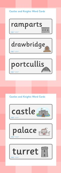 Twinkl Resources >> Castles and Knights Topic Word Cards >> Classroom printables for Pre-School, Kindergarten, Elementary School and beyond! Topics, Castles, Word Cards