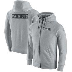 Men s New England Patriots Nike Ash Gridiron Gray 2.0 Full-Zip Hoodie 8380f070d