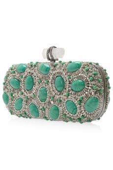 Turquoise & silver clutch