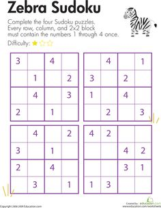 Zebra Sudoku | Education.com Use 1,2,3,4 in a different way each time. MP