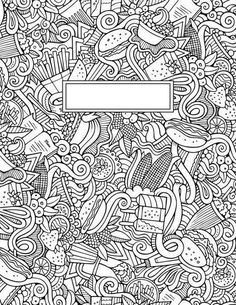 journal cover doodle binder cover coloring pages for adults journal covers Tumblr Coloring Pages, Coloring Book Pages, Coloring Sheets, Binder Covers, Notebook Covers, Journal Covers, Back To School Life Hacks, Doodle Coloring, Cover Template