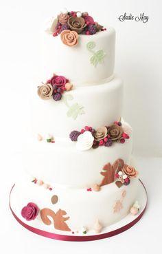 Autumn Wedding Cake by Sharon Sadie May Cakes - http://cakesdecor.com/cakes/221043-autumn-wedding-cake