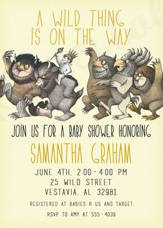 """free printable """"where the wild things are"""" baby shower, birthday, Baby shower invitations"""