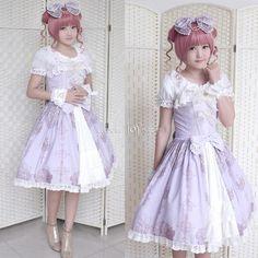 Customized Palace Bowknot Lace-up Lolita Chiffon Violet Braces Dress