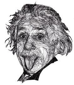 Temporary Tattoo - Geometric Drawing / Albert Einstein or Monroe / Tattoo Flash Geometric Drawing, Geometric Art, Art Sketches, Art Drawings, Black And White Portraits, Caricature, Line Art, Amazing Art, Illustration Art