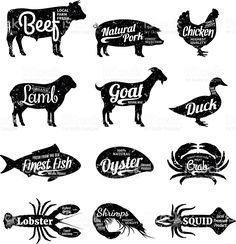 Set of butchery and seafood labels. Farm animals and seafood with sample text. Retro styled farm animals and seafood silhouettes collection for groceries, meat stores, seafood shop and advertising. Shrimp And Lobster, Crab Stuffed Shrimp, Cut Animals, Farm Animals, Free Vector Graphics, Vector Art, Carnicerias Ideas, Craft Ideas, Seafood Shop
