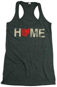 Ladies Home Ohio Red Racerback – Charcoal – Be Ohio Proud
