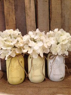 Rustic Painted Mason Jar Wedding Centerpiece via Etsy