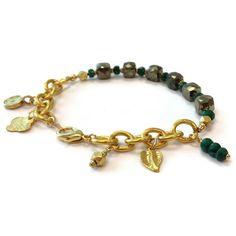 Pyrite Bracelet Emerald Jewelry Yellow Gold by jewelrybycarmal, $75.00/ Love the heavy gold chain.