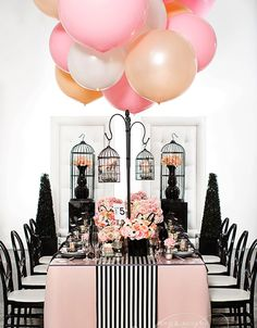 coco-chanel-inspired-pink-and-black-bridal-shower-ideas-with-balloon-decorations.jpg (600×770)