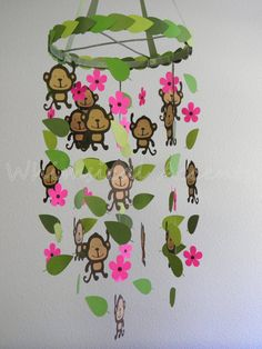 Monkey Jungle Baby Mobile with Hot Pink Flowers by whimsicalaccents on Etsy