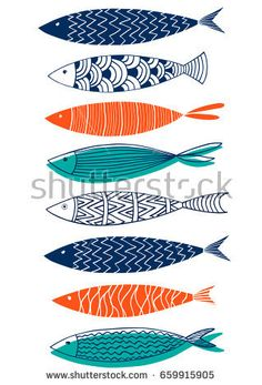 Pattern of fish in the style of doodle.Vector