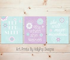 Purple Aqua Mint Nursery Wall Décor Let Her Sleep Quote Set of 3 Nursery Art Prints by HollyPopDesigns