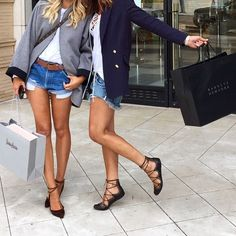 grey jacket + white tee + distressed denim shorts + brown lace-up ballet flats and navy blazer + white peasant blouse + distressed denim shorts + black lace-up ballet flats