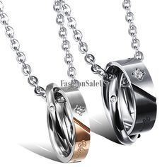 Stainless Steel Your Smile Make Me Happy Ring Couples Necklace Valentine's Gift #Unbranded #Pendant