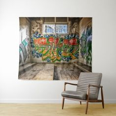 Street Art Graffiti Wall Art  Abandoned Tapestry - red gifts color style cyo diy personalize unique