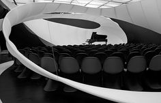 Zaha Hadid Architects for the Manchester Art Gallery in 2010 with Panton Chairs by Vitra. Manchester Art, Lounge Music, Hall Design, Lobby Design, Zaha Hadid Architects, Space Architecture, Inspiration Wall, Concert Hall, Architect Design