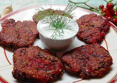 Mennyei céklás tallér recept foto Vegas, Torte Cake, Potato Recipes, Meatloaf, Steak, Pork, Food And Drink, Potatoes, Vegetarian