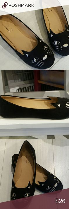 Classy kitty cat shoes Black cat ballet flats. Comfortable soft material. Microsuade and synthetic sole. Very light. Hot Polka Dot Shoes Flats & Loafers