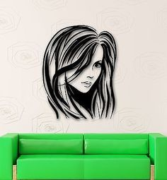 Wall Stickers Vinyl Decal Sexy Girl Hair Beauty Salon Hairstyle (ig574)