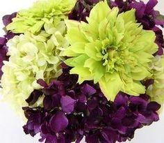 green and purple wedding flowers  www.myfloweraffair.com