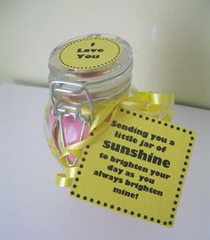 Unique gift ideas for him or her! The perfect way to say I LOVE YOU is with a little jar of sunshine to show you care!  Your Happy Jar features... 50+ motivational, inspiring and funny daily affirmations to brighten their day! A Hand painted Glass Trinket Jar featuring cheery suns! Comes beautifully wrapped in tissue paper, ready to give as a gift! *(Please note, there will be NO price or invoice included in your package)*  The Little Jar of Happiness contains everything you need to share a…