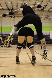 Image tagged in gifs,rollerderby,roller derby,lady trample,sugar hit,pirate city rollers
